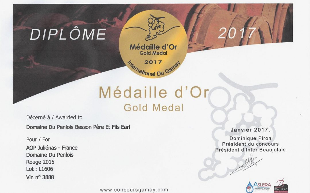 Médaille d'OR International du Gamay 2017